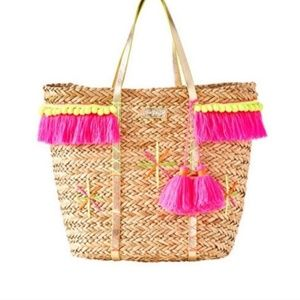 Lilly Pulitzer Baja Beach Straw Pom Pom Tote Bag